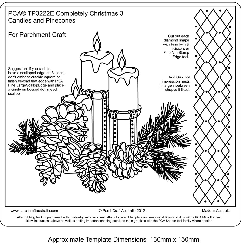 Tp3222e Easy Emboss Completely Christmas 3 Candles And Pine Cones