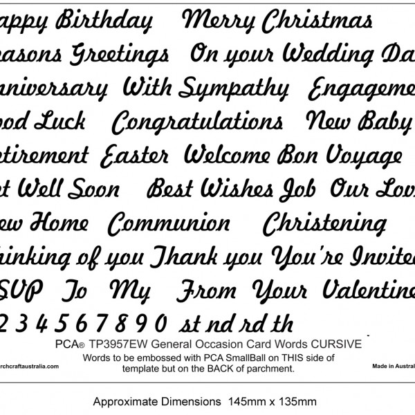 TP3957EW EMBOSSING General Occasion Words CURSIVE - Parchment ...