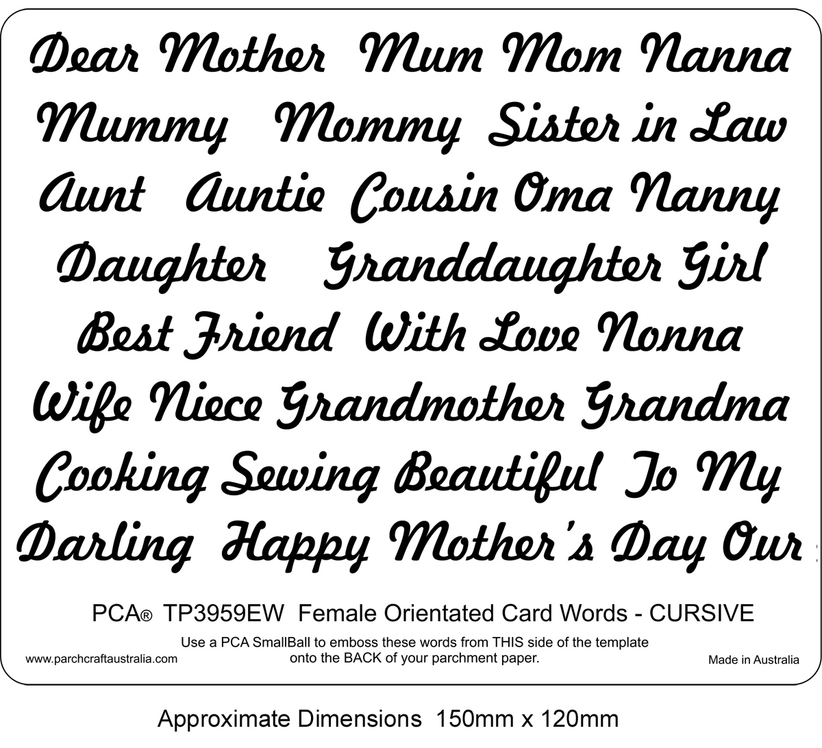 TP3959EW EMBOSSING Female Orientated Words CURSIVE - Parchment Worldwide