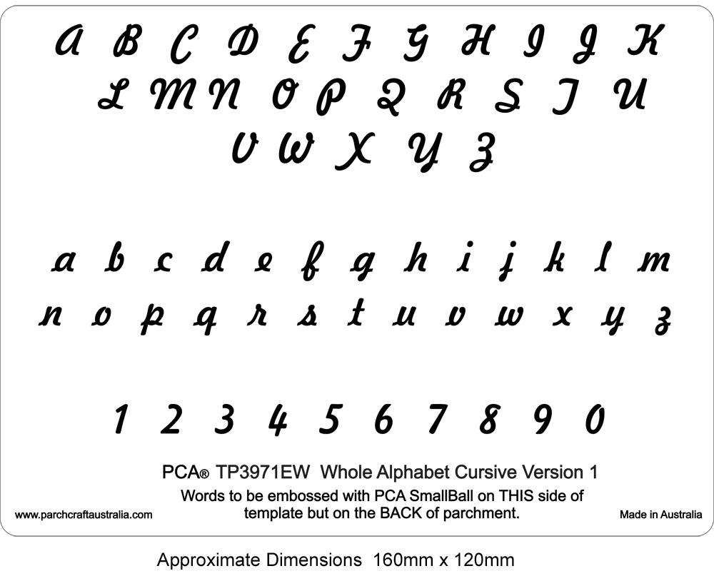 Whole alphabet cursive version 1 8 embossing whole alphabet